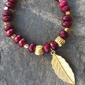 Jewelry - Ruby stone beaded with leaf charm bracelet